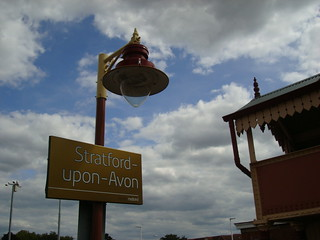 Non-standard London Midland station name-board with gold background at Stratford-Upon-Avon