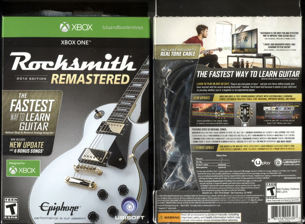 Xbox One Rocksmith 2014 Edition Remastered Includes Real Tone Cable