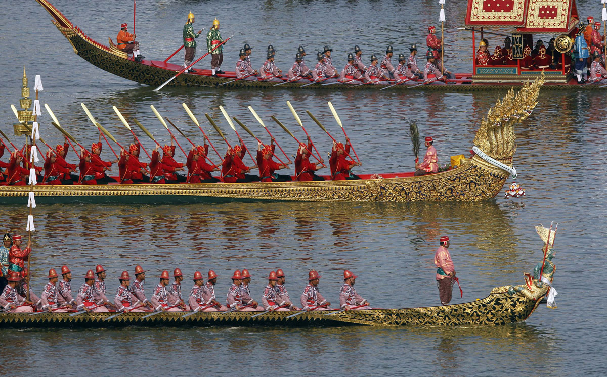 Dress rehearsal for Royal Barge Procession on the Chao Phraya River in Bangkok on November 6, 2012. The actual procession was held on November 9 to mark the end of Buddhist Lent to celebrate the 85th Birthday of King Bhumibol.  Photo by Chaiwat Subprasom for Reuters.