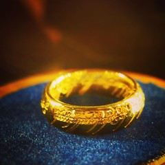 "The One Ring ""One Ring to rule them all, One Ring to find them, One Ring to bring them all and in the darkness bind them In the Land of Mordor where the Shadows lie."" You can even buy your own at the Weta Cave.  #wellington #wetacave #wetastudios #newzeal"