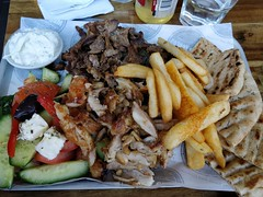 Mixed lamb and chicken gyros, pita, salad, chips, tzatziki AUD20 - Mega Yeeros, Oakleigh - op5