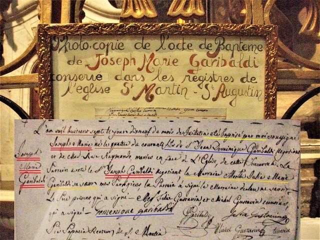 Giuseppe Garibaldi baptism certificate - Nice, Côte-d'Azur, France