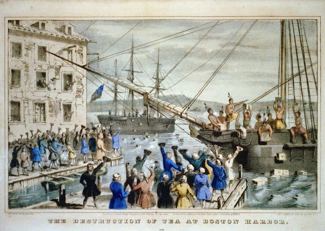 """The Destruction of Tea at Boston Harbor"", lithograph depicting the 1773 Boston Tea Party (1846)"