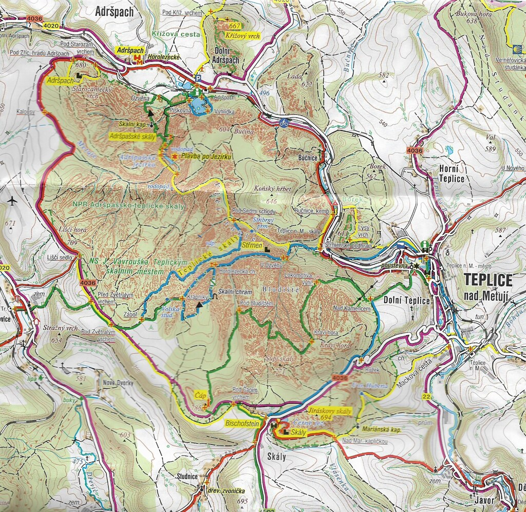Map of the Adršpach-Teplice hiking trails