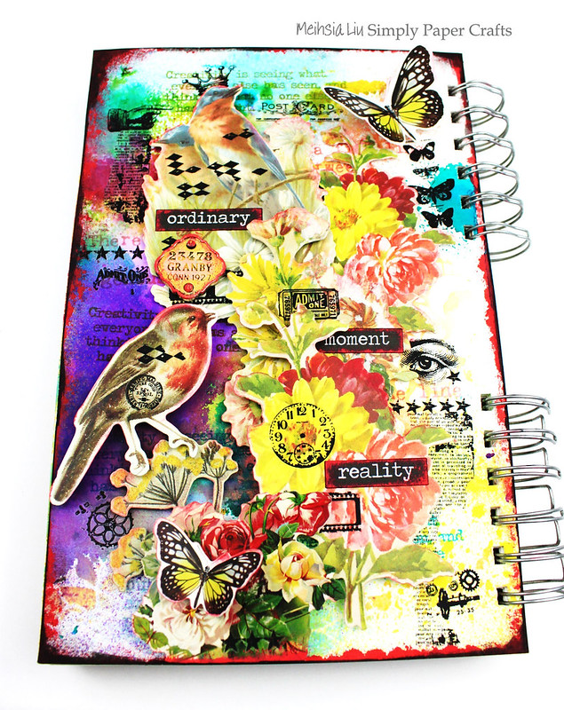 Meihsia Liu Simply Paper Crafts Mixed Media Art Journal Flower Bird Collage Simon Says Stamp Tim Holtz