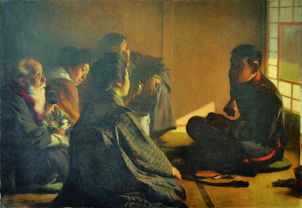満谷国四郎《戦の話》(1906年、倉敷市立美術館)
