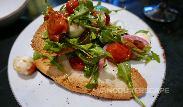 Tomato & Bocconcini salad on garlic crostini