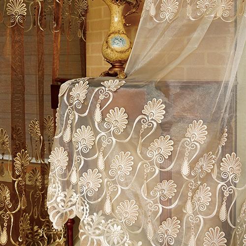 孔雀浮雕鏽花紗 立體繡花 無接縫窗紗布 展覽場裝飾佈置 DB3990009