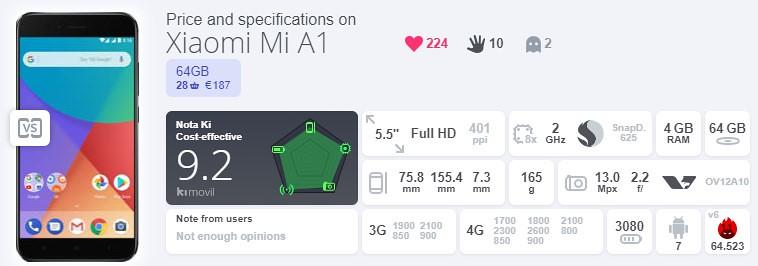 2, Xiaomi Mi A1