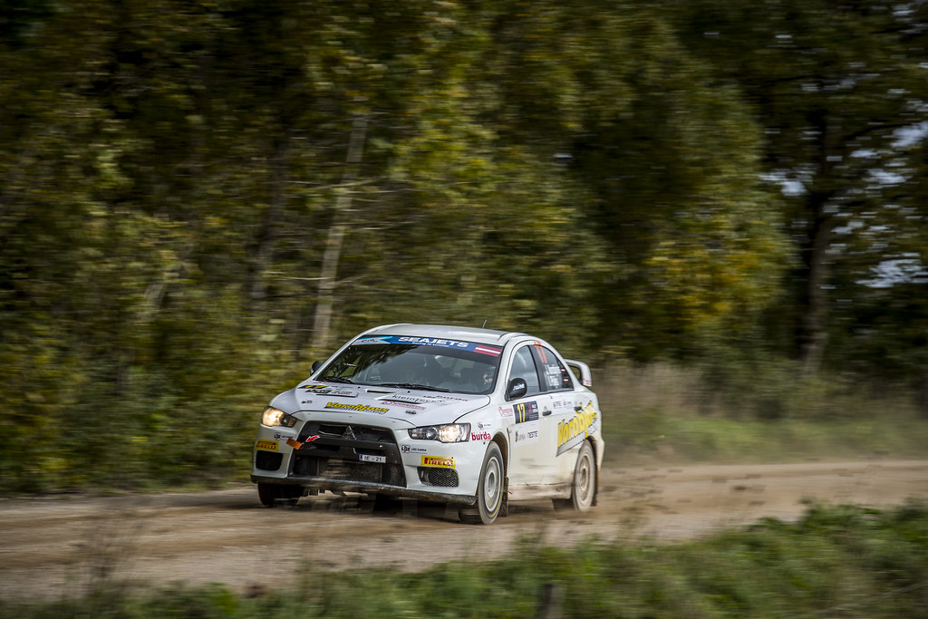 17 Vorobjovs Jānis and Pūķis Ivo, Mitsubishi Lancer Evo X action during the 2017 European Rally Championship ERC Liepaja rally,  from october 6 to 8, at Liepaja, Lettonie - Photo Gregory Lenormand / DPPI
