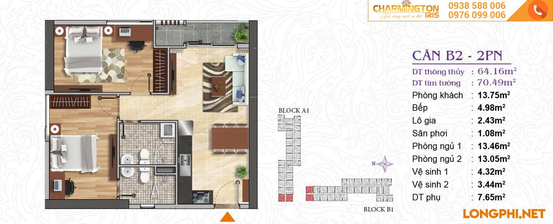 Căn hộ 2 phòng ngủ B2 dự án Charmington Iris Q4.