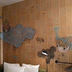 #bookpages #wallpaper #squirrel #clouds #art #mural #acehotel #room411 #downtown #portland