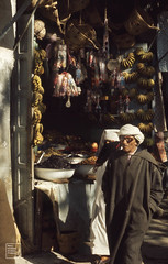 Fes slave quarter. Olives, bananas, baskets. 1972