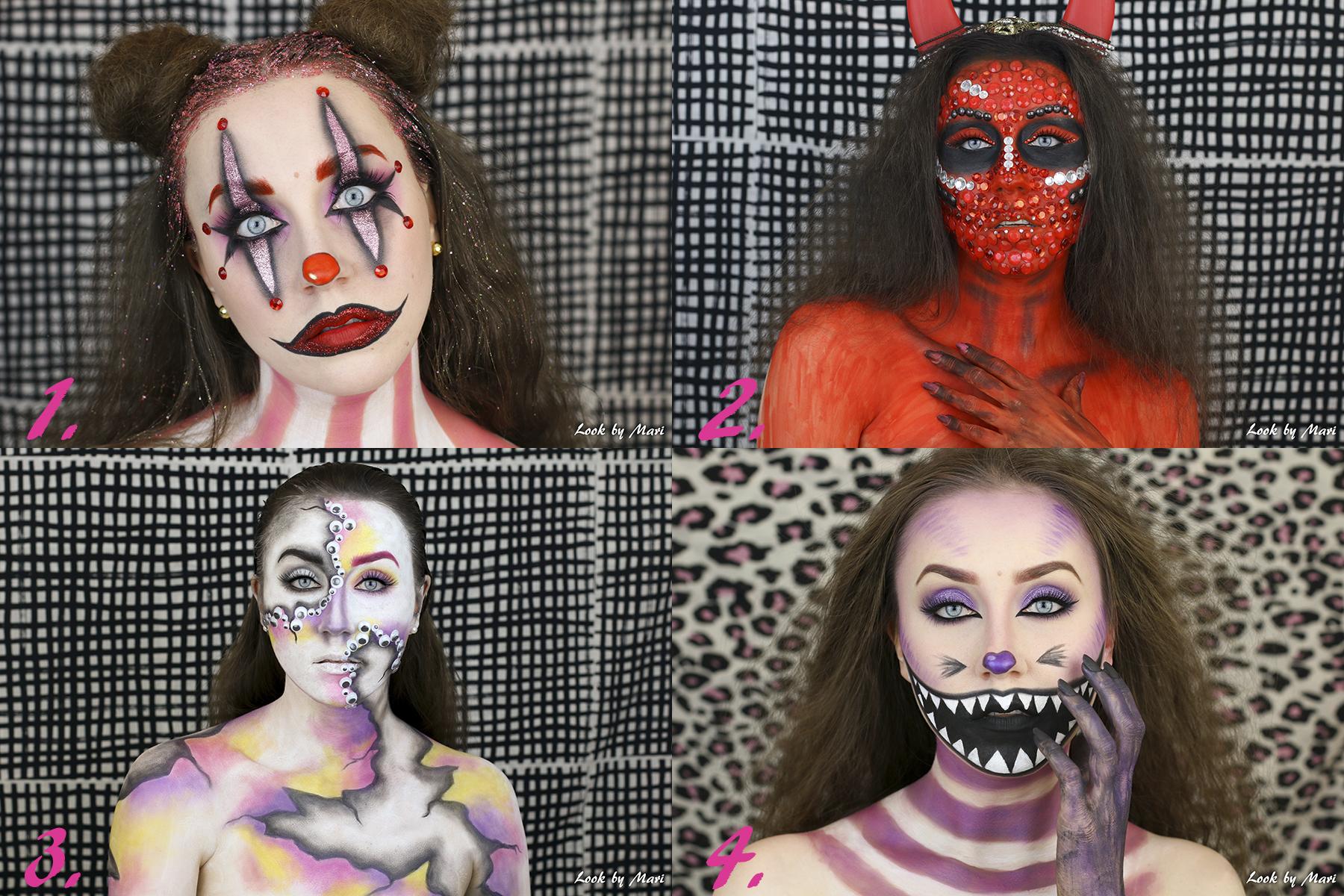 1 halloween makeup ideas 2017 costume glittery beautiful devil clown colorful cat