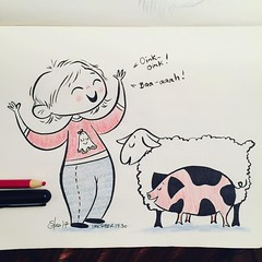 #inktober day 30 - Robson makes two animals noises constantly - #pig & #sheep - she loves them both so much! #inktober2017 #robsongrace #brushpen #artistworkout #artistsoninstagram #illustration #sketching #drawmore #moleskine