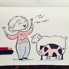 #inktober day 30 - Robson makes two animals noises constantly - #pig & #sheep - she loves them both so much! #inktober2017 #robsongrace #brushpen #artistworkout #artistsoninstagram #illustration #sketching #drawmore #moleskine
