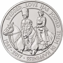 Queen and Prince Philip 70th Anniversary coin reverse