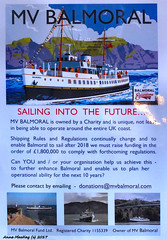 Scotland Greenock the MV Balmoral needs £1.8 million to continue to sail after 2018 poster 21 September 2017 by Anne MacKay
