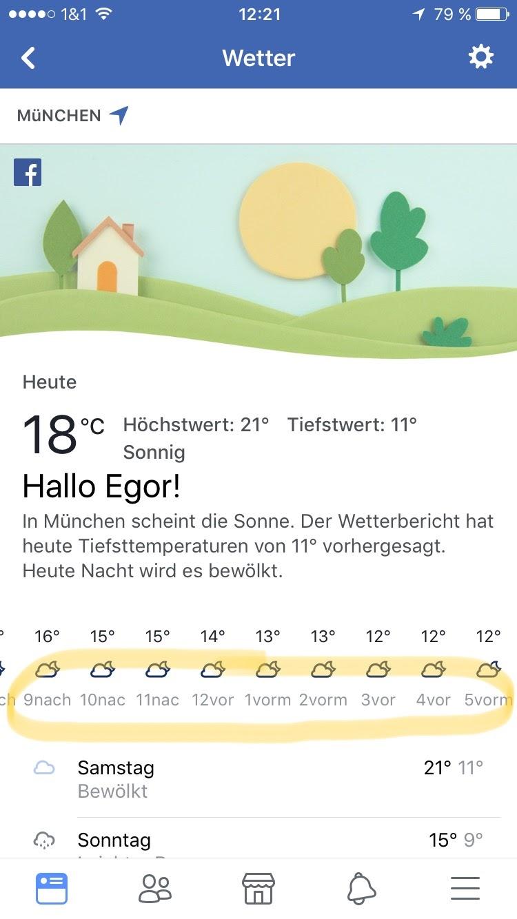 Wettervorhersage bei Facebook