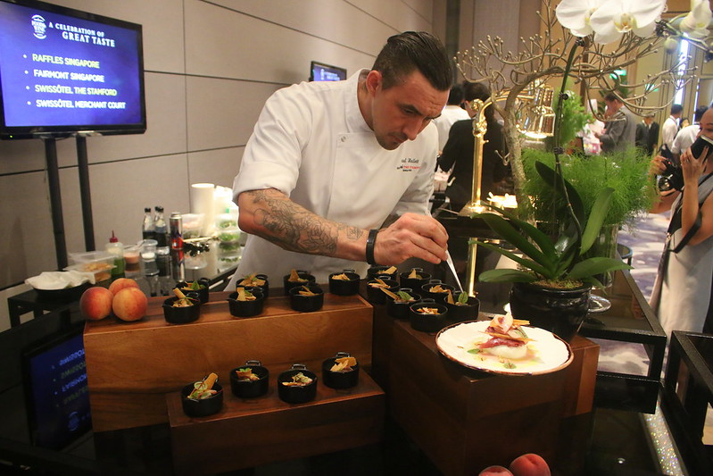 Chef de Cuisine Paul Hallett of Swissotel Stamford preparing the Burrata