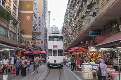 Hong Kong tramway gointh through North Point market street
