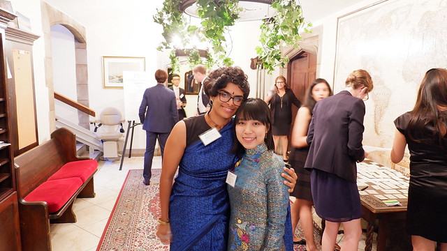 ISH-DC Resident Scholars Meghna Saha and Huyen Tran preparing to welcome guests - 2017 Global Leadership Awards