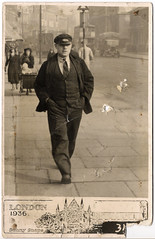 Man Walking in London Street in 1936
