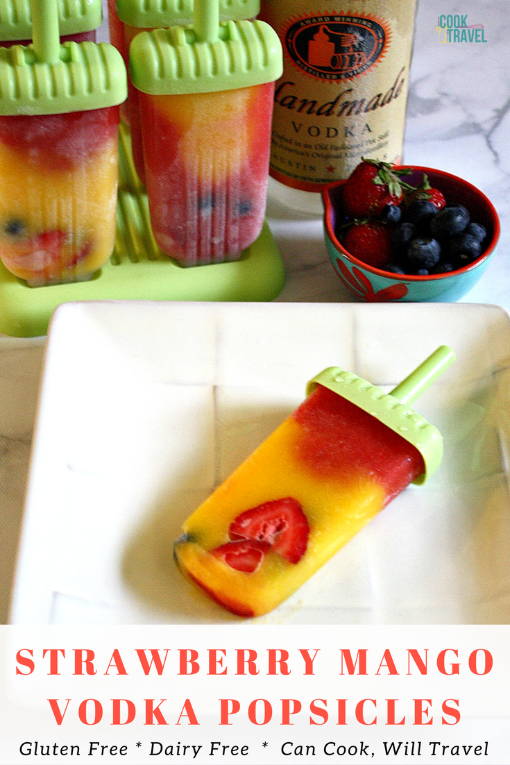 Boozy Strawberry Mango Popsicles