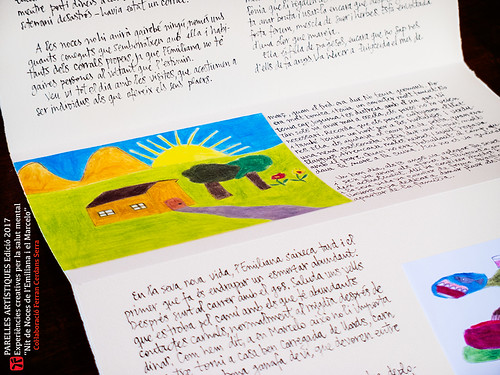 Nit de noces de l'Emiliana i el Marcelo. Llibre per al projecte Parelles Artístiques. Detall il·lustracions i cal·ligrafia.
