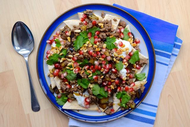 Easy Spicy Middle Eastern Lamb Aubergine Nachos | www.rachelphipps.com @rachelphipps