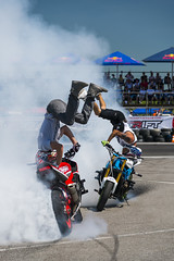 Unknown stunt bikers entertain the audience