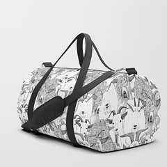 just goats black white duffle bag