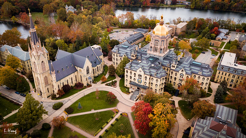 fall colors autumn notre dame university campus church travel aerial dji marvic architecture