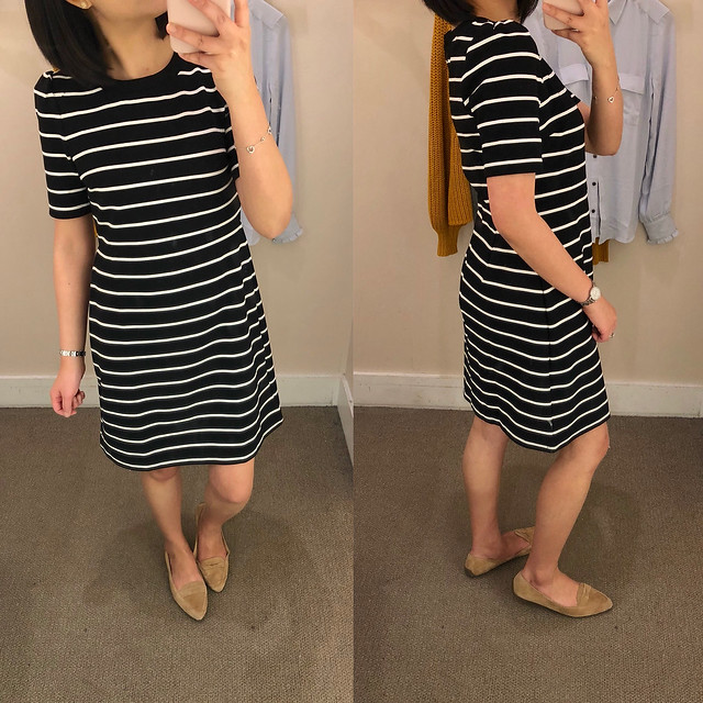 LOFT Striped Ottoman Flare Dress, size 2P
