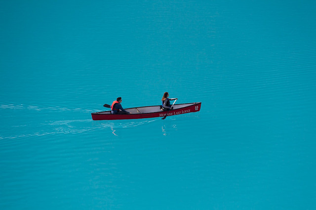 a canoe on Moraine Lake