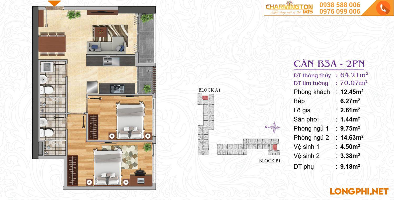 Căn hộ 2 phòng ngủ B3A dự án Charmington Iris Q4.