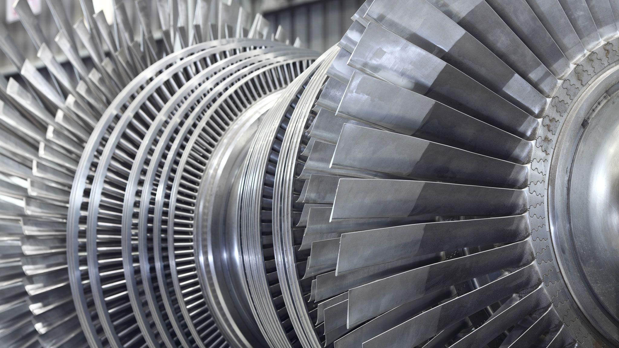 close up of a gas turbine