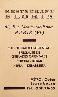 Restaurant Floria, Paris 1953