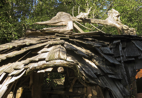 The funky driftwood shelter at the Wildside Grill in Tofino
