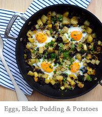Baked Eggs with Black Pudding & Potatoes