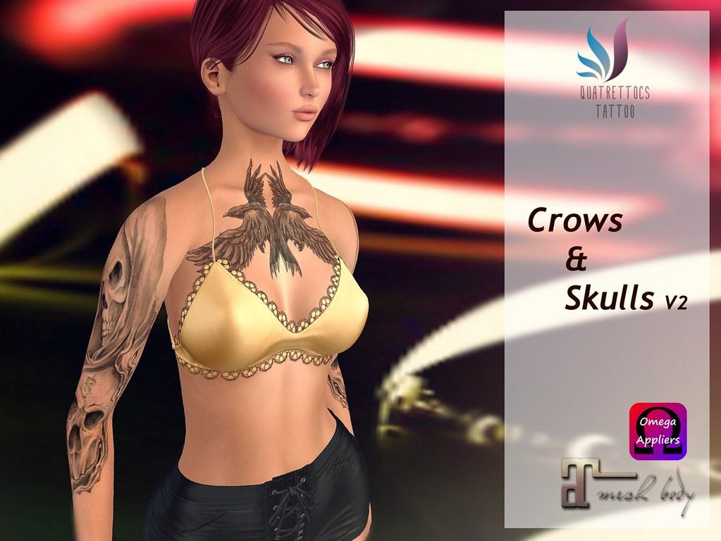 Crows & Skullss Tattoo,  New Version - TeleportHub.com Live!