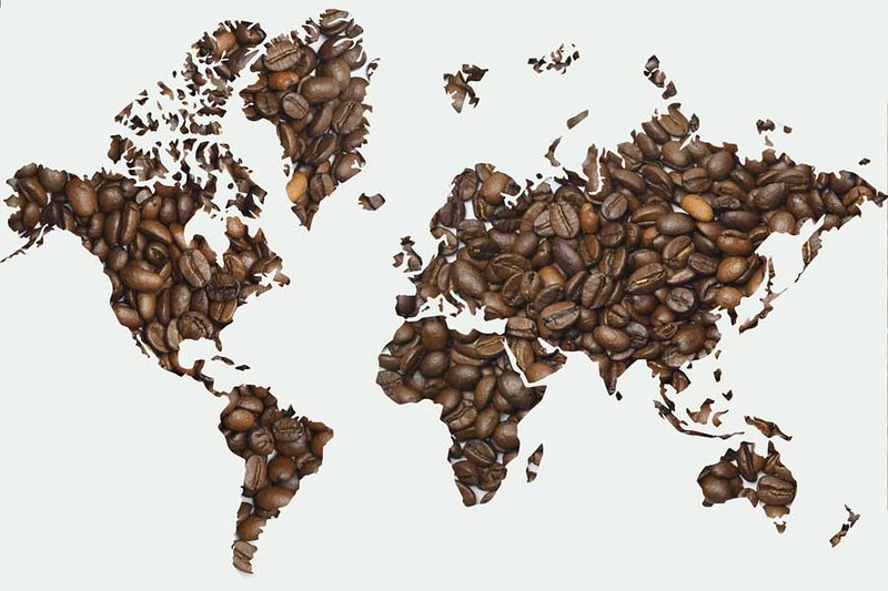 Globe and continent shaped whole coffee beans