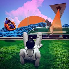 Indifférence face à l'avenir #rest #train #futur #3d #moutain #cowboy #cool #lyon #surreal Eshop Sampad (link in bio)
