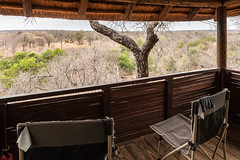 View from our tent to the waterhole across the valley