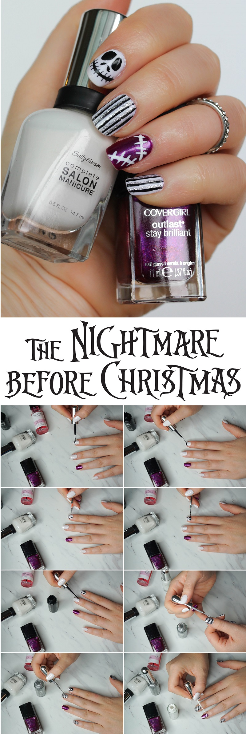 Step-by-Step Nightmare Before Christmas Manicure Tutorial Halloween Sally Hansen Complete Salon Manicure Let's Snow Covergirl Outlast Say Brilliant Polish Fuchsia Flame