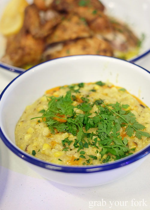 Polenta with corn and chervil at Mr Liquor's Dirty Italian Disco by Pinbone at the Tennyson Hotel Bottle Shop in Mascot
