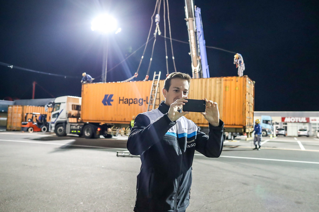 GIROLAMI Nestor (arg) Volvo S60 Polestar team Polestar Cyan Racing looking the containers arrival during the 2017 FIA WTCC World Touring Car Championship race at Motegi from october 27 to 29, Japan - Photo Alexandre Guillaumot / DPPI