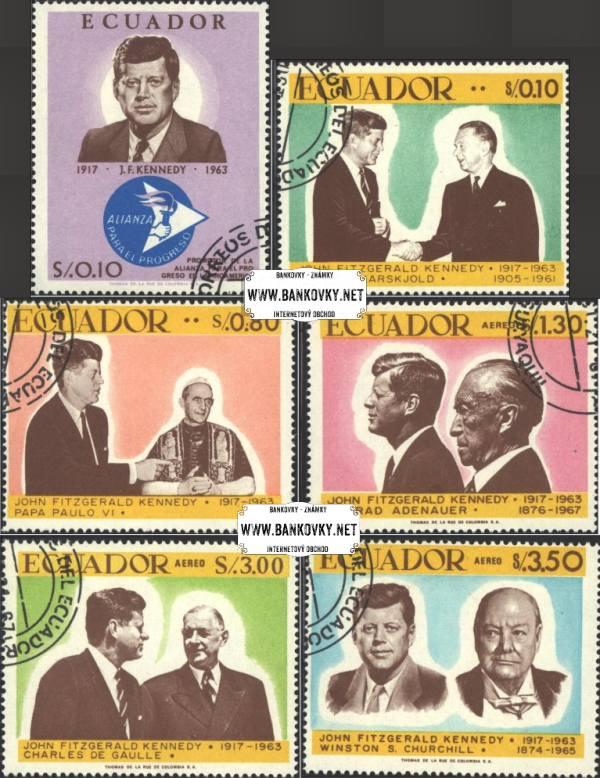 Známky Ekvádor 1967 John F. Kennedy, razítkovaná séria