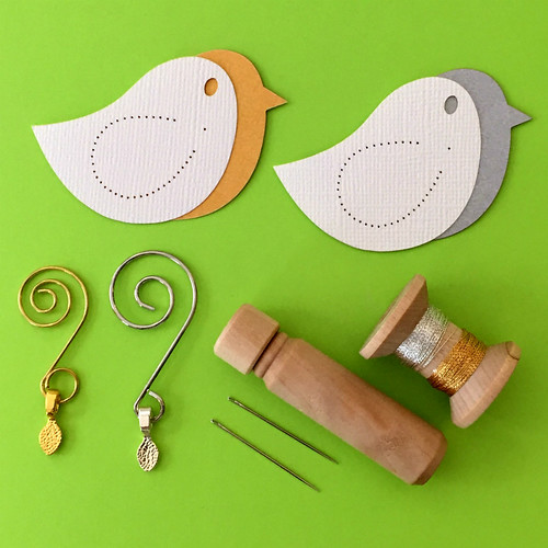Stitched Songbird Ornaments Kit by Stefani Tadio Paper Art
