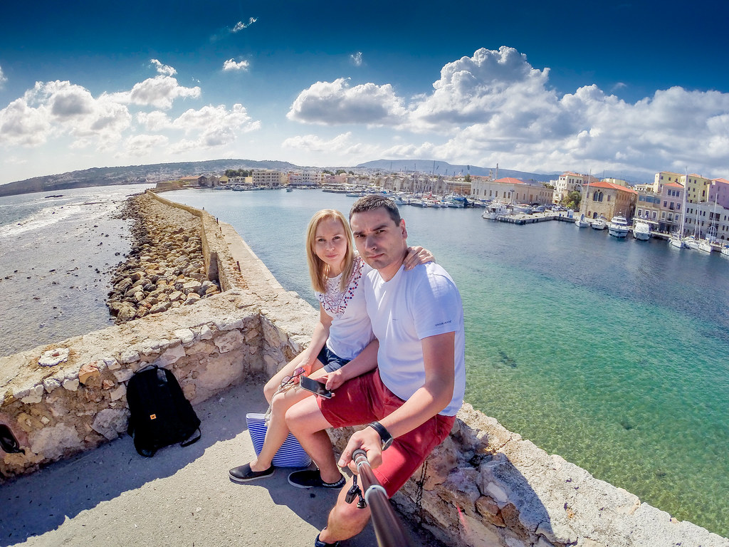 Chania Selfie on Venetian Harbour - Crete, Greece